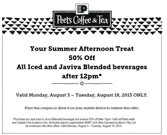 image regarding Peet Coffee Printable Coupon referred to as Peets Espresso Discount codes -
