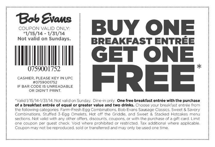 picture regarding Bob Evans Printable Menu named Coupon codes bob evans cafe / Chase coupon 125 hard cash