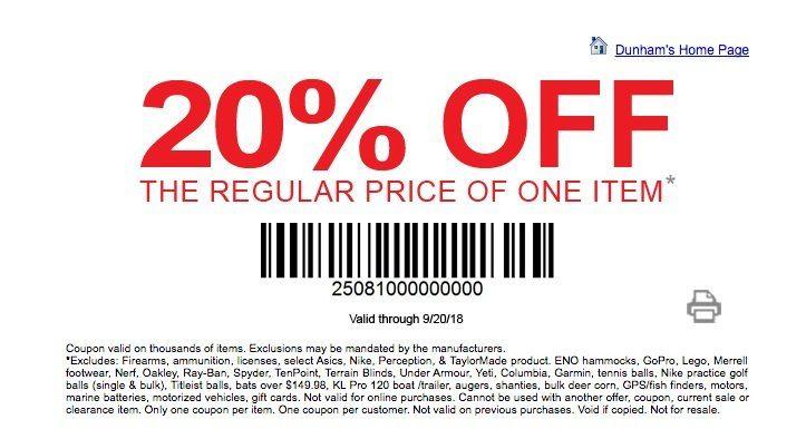 image relating to Dunhams Coupons Printable called dunhams-coupon-20 -