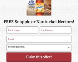 Bruegger's Bagels – Free Snapple or Nantucket Nectars