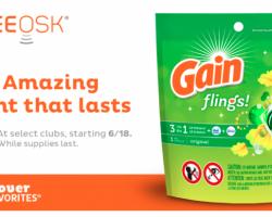 Sam's Club –  Free Gain Flings Detergent Sample