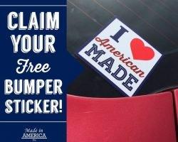 "Free ""I Love American Made"" Bumper Sticker"