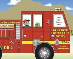 Kids Fire Truck Foldup Activity Sheet